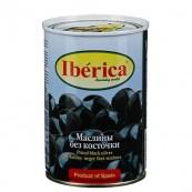 Маслины Iberica черные без косточки 420гр.
