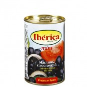 Маслины Iberica черные с косточкой 300гр.