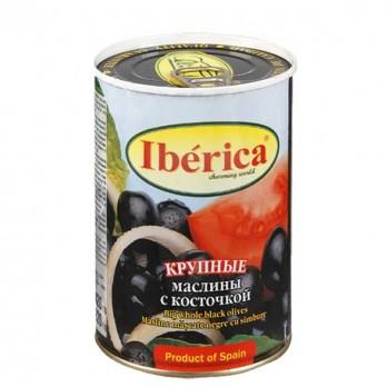 Маслины Iberica черные с косточкой 420гр.