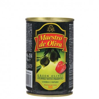 Оливки зеленые Maestro de Oliva с перцем 300гр.