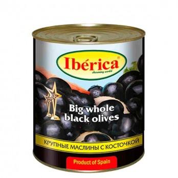 Маслины Iberica черные с косточкой 875гр.