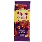 Шоколад Alpen Gold фундук/изюм 90гр.