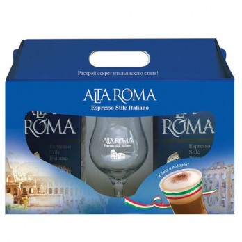 Подарочный набор кофе Alta Roma Intenso в зернах + бокал