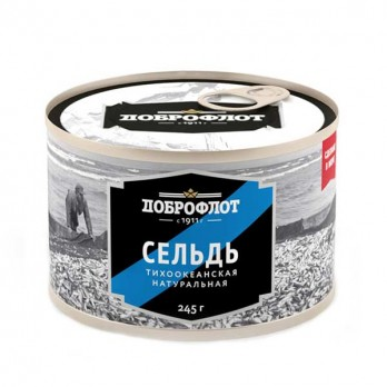 Сельдь Доброфлот натуральная с добавлением масла 250гр.