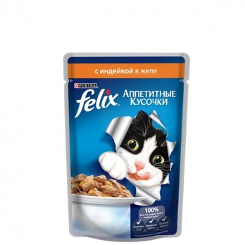Корм для кошек Felix с индейкой в желе 85 гр.