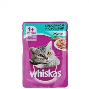 Корм для кошек Whiskas желе кролик с овощами 85 гр.