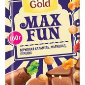 Шоколад Alpen Gold Max Fun взрывная карамель, мармелад, печенье 160г.