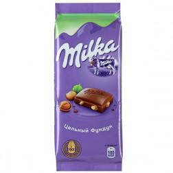 Шоколад Milka молочный с цельным фундуком 90гр.
