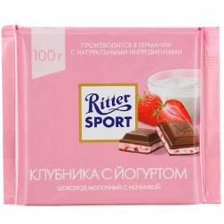 Шоколад Ritter Sport молочный с начинкой клубника с йогуртом 100гр.