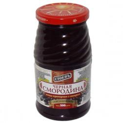 Черная смородина Стоевъ ягода протертая с сахаром 500гр.