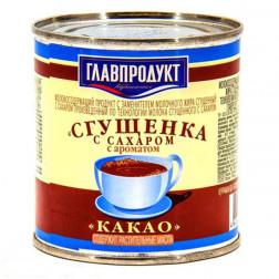 Сгущенка Главпродукт с сахаром и ароматом какао 380гр.