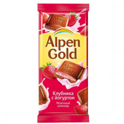 Шоколад Alpen Gold клубника с йогуртом 90гр.