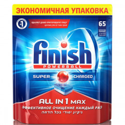 Таблетки для посудомоечных машин Finish «All in 1 max» лимон,  65 шт.