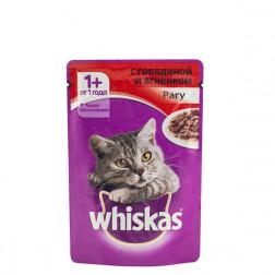 Корм для кошек Whiskas рагу с Говядиной и ягненком 85 гр.