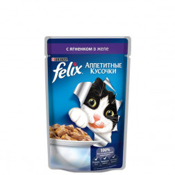 Корм для кошек Felix с  ягненком в желе 85 гр.