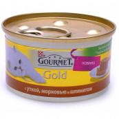Корм для кошек PURINA Gourmet Голд террин с уткой,морковью и шпинатом 85 гр.