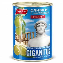 Оливки греческие Green Ray Супер Гигант с косточкой 820гр.