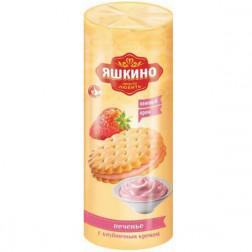 Печенье Яшкино затяжное с клубничным кремом 182гр.