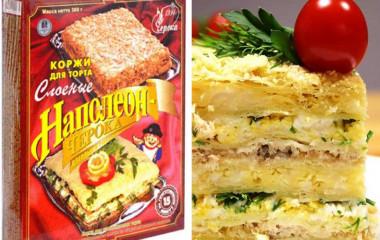 Закусочный «Наполеон» из готовых коржей — это то, что просто и быстро готовить и то, что составит альтернативу бутербродам на праздничном столе. Начинка может быть любая, все зависит от Вашей фантазии (консервы, курица грибы, морковь, сырные миксы и.т.д.) Более того, каждый слой может быть новым, главное, чтобы ингредиенты, которые вы используете, сочетались друг с другом. […]