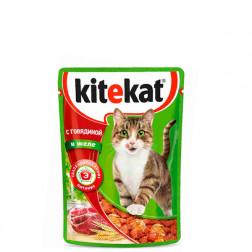 Корм для кошек Kitekat с говядиной в желе, 85 гр.