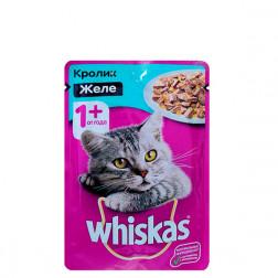 Корм для кошек Whiskas желе кролик, 85 гр.