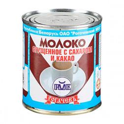 Молоко Рогачев сгущенное цельное с сахаром  и какао, 380гр.