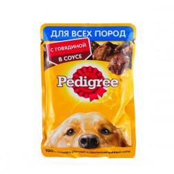 Корм для собак в соусе Pedigree  с говядиной, для всех взросл собак, 85 гр.