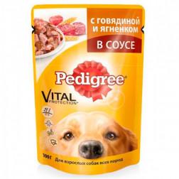 Корм для собак в соусе Pedigree с говядиной и ягненком, 100 гр.