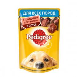 Корм для собак в соусе Pedigree ягненком+говядина,для всех взрослых собак, 85 гр.