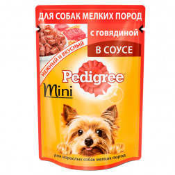Корм для собак в соусе Pedigree mini с говядиной, 85 гр.