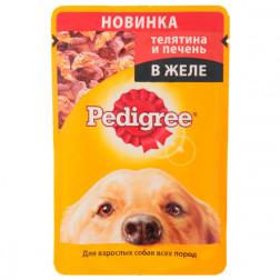 Корм для собак в желе Pedigree с телятиной и печенью, 100 гр.