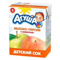Сок детский Агуша яблоко-персик, 0,2л.