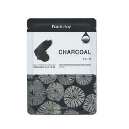 Тканевая маска для лица с экстрактом угля Farm Stay, 23 мл.