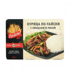 Курица по-тайски с овощами и рисом, 250гр.