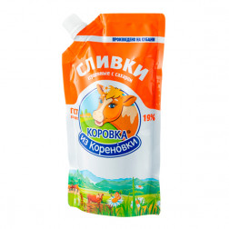 Сливки Коровка из Кореновки сгущенные с сахаром 19% 270гр.