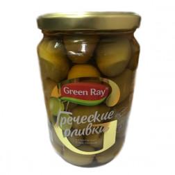 Оливки греческие Green Ray Супер Гигант с косточкой 700гр.
